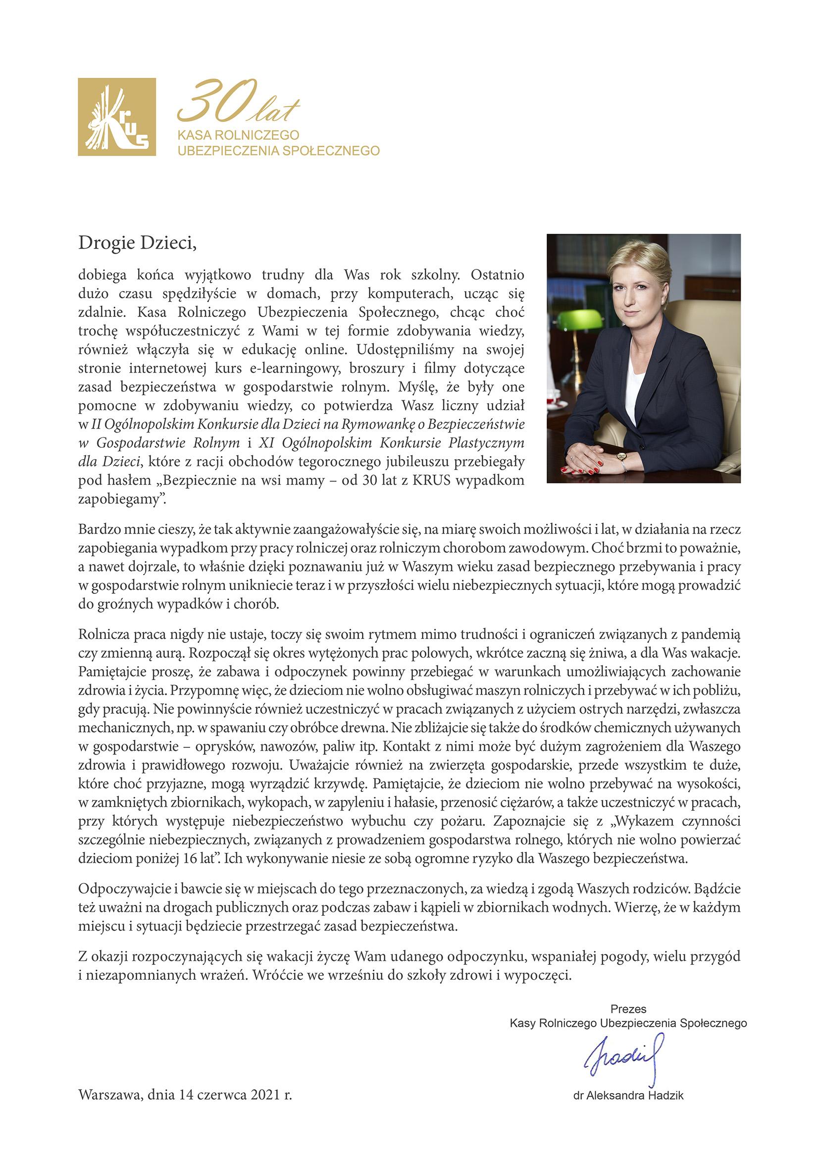 List Pani Prezes dr Aleksandry Hadzik KRUS skierowany do dzieci w sprawie zachowania zasad bezpieczeństwa podczas wakacji.